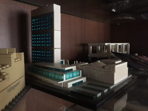 Lego model of UN, showing the expanse of windows.